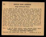 1941 Gum Inc. Uncle Sam Home Defense #93   High Altitude Pilots Back Thumbnail