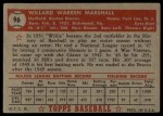 1952 Topps #96  Willard Marshall  Back Thumbnail