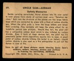1941 Gum Inc. Uncle Sam Home Defense #69   Safety Measures Back Thumbnail
