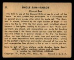 1941 Gum Inc. Uncle Sam Home Defense #21   Fire At Sea Back Thumbnail
