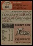 1953 Topps #65  Earl Harrist  Back Thumbnail