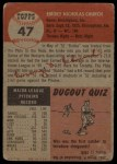 1953 Topps #47  Bubba Church  Back Thumbnail