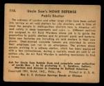 1941 Gum Inc. Uncle Sam Home Defense #118   Public Shelter Back Thumbnail