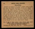1941 Gum Inc. Uncle Sam Home Defense #74   Guard Duty Back Thumbnail