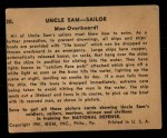 1941 Gum Inc. Uncle Sam Home Defense #20   Man Overboard Back Thumbnail