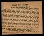 1941 Gum Inc. Uncle Sam Home Defense #16   Over The Bounding Main Back Thumbnail