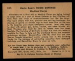 1941 Gum Inc. Uncle Sam Home Defense #107   Medical Corps Back Thumbnail