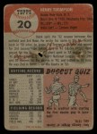 1953 Topps #20  Hank Thompson  Back Thumbnail