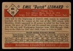 1953 Bowman B&W #50  Emil  Dutch  Leonard  Back Thumbnail