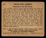 1941 Gum Inc. Uncle Sam Home Defense #41   Gunnery In The Air Corps Back Thumbnail