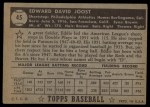 1952 Topps #45 BLK Eddie Joost  Back Thumbnail