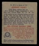 1949 Bowman #86  Johnny Pesky  Back Thumbnail