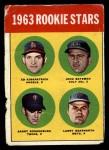 1963 Topps #386 CTR  -  Ed Kirkpatrick / John Bateman / Garry Roggenburk / Larry Bearnarth Rookie Stars Front Thumbnail