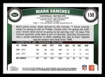 2011 Topps #150  Mark Sanchez  Back Thumbnail