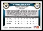 2011 Topps #157  Rashad Jennings  Back Thumbnail