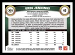 2011 Topps #40  Greg Jennings  Back Thumbnail