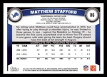 2011 Topps #86  Matthew Stafford  Back Thumbnail