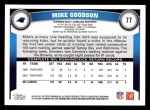2011 Topps #77  Mike Goodson  Back Thumbnail