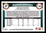 2011 Topps #136  Brandon Marshall  Back Thumbnail
