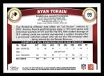 2011 Topps #99  Ryan Torain  Back Thumbnail