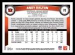 2011 Topps #70  Andy Dalton  Back Thumbnail