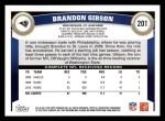 2011 Topps #201  Brandon Gibson  Back Thumbnail