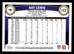 2011 Topps #183  Ray Lewis  Back Thumbnail