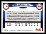 2011 Topps #240   -  Tom Brady Most Valuable Player Back Thumbnail