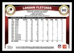 2011 Topps #343  London Fletcher  Back Thumbnail