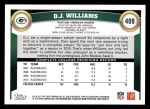 2011 Topps #409  D.J. Williams  Back Thumbnail
