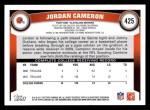 2011 Topps #425  Jordan Cameron  Back Thumbnail
