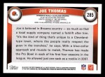 2011 Topps #285  Joe Thomas  Back Thumbnail