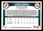 2011 Topps #366  Daniel Thomas  Back Thumbnail