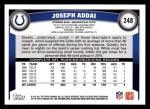 2011 Topps #248  Joseph Addai  Back Thumbnail
