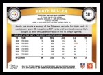 2011 Topps #381  Heath Miller  Back Thumbnail