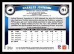 2011 Topps #261  Charles Johnson  Back Thumbnail