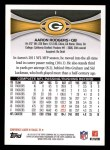 2012 Topps #1  Aaron Rodgers  Back Thumbnail