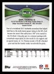 2012 Topps #11  Earl Thomas  Back Thumbnail
