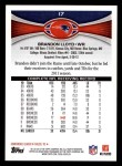 2012 Topps #17  Brandon Lloyd  Back Thumbnail