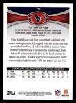 2012 Topps #19  T.J. Yates  Back Thumbnail