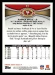 2012 Topps #30  Patrick Willis  Back Thumbnail