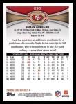 2012 Topps #230  Frank Gore  Back Thumbnail