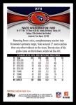 2012 Topps #273  Nate Washington  Back Thumbnail