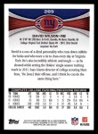 2012 Topps #289  David Wilson  Back Thumbnail