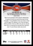 2012 Topps #325  Von Miller  Back Thumbnail