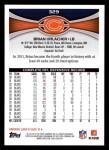2012 Topps #329  Brian Urlacher  Back Thumbnail