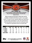 2012 Topps #339  Billy Winn  Back Thumbnail