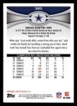 2012 Topps #385  Miles Austin  Back Thumbnail