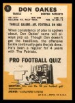 1967 Topps #8  Don Oakes  Back Thumbnail