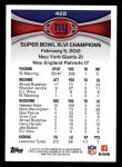 2012 Topps #422   -  Eli Manning NY Giants Champs Back Thumbnail